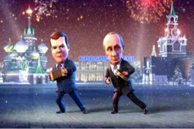 Medvedev e Putin in versione cartoon