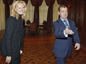 Il ministro Tatjana Golikova con Dmitrj Medvedev