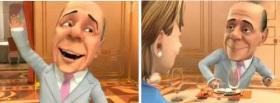Due immagini di Berlusconi nel programma sulla TV russa