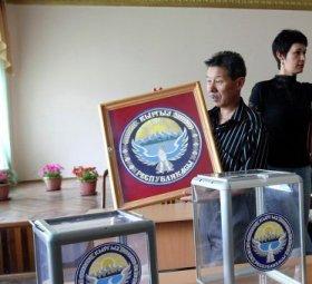 Allestimento di un seggio in Kirghizistan